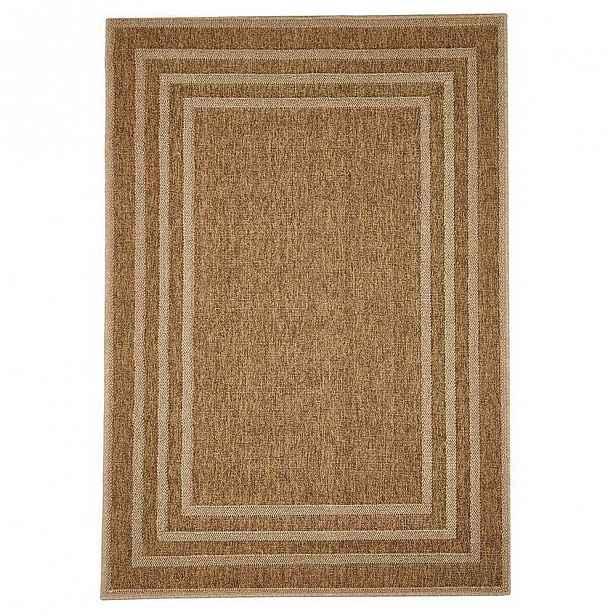 Hnědý venkovní koberec Floorita Border, 160 x 230 cm