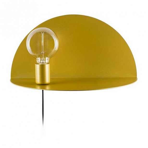 Nástěnné svítidlo s poličkou ve zlaté barvě Homemania Decor Shelfie,délka20cm