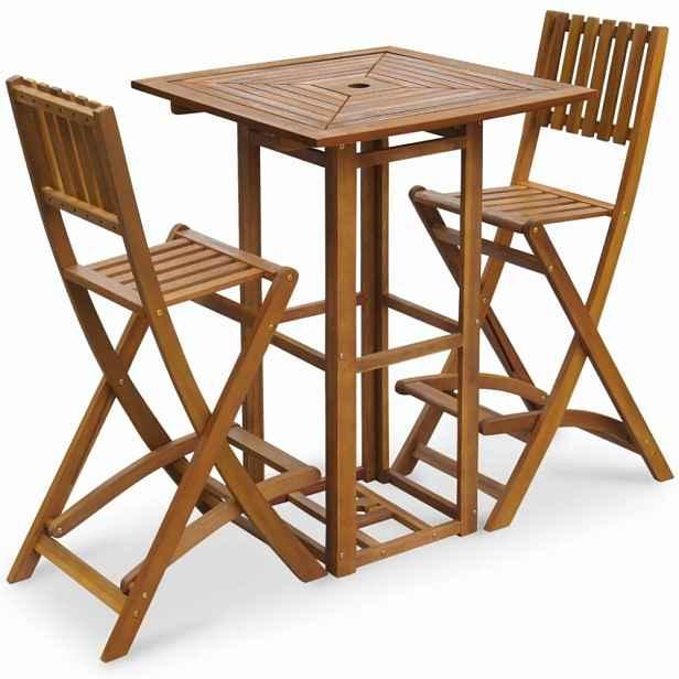 Zahradní barový set 3ks z akáciového dřeva