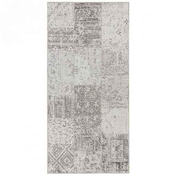 Šedo-krémový běhoun běhoun Elle Decor Pleasure Denain, 80 x 200 cm