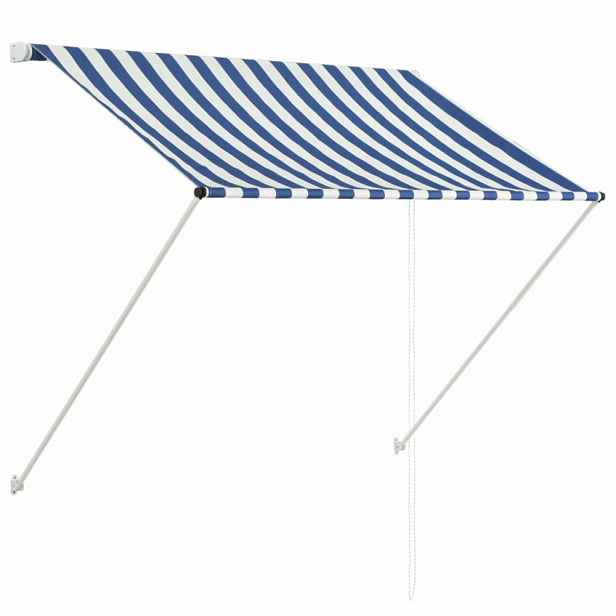 Zatahovací markýza 150 x 150 cm Dekorhome Bílá / modrá