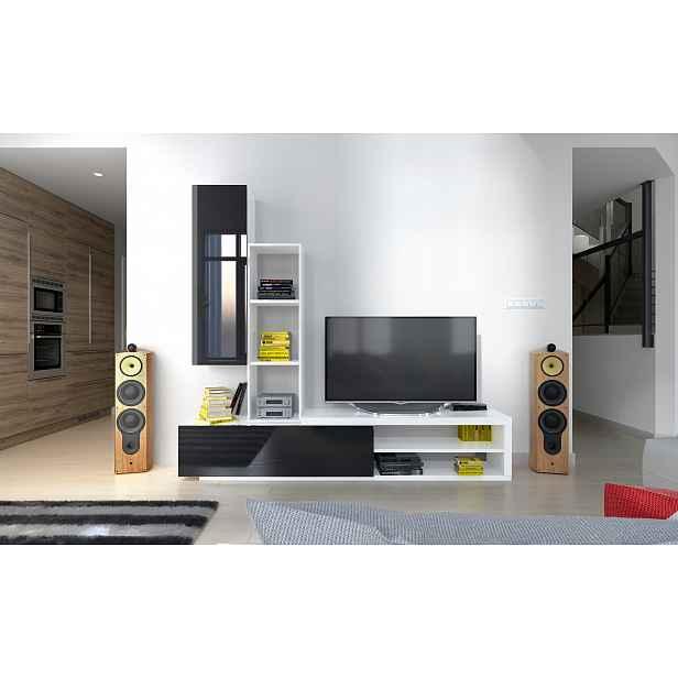 Moderní obývací stěna Naspe, bílá/černý lesk HELCEL