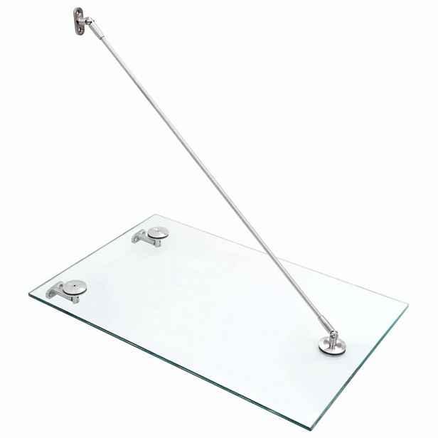 Vchodová stříška bezpečnostní sklo VSG / nerezová ocel Dekorhome 75 x 90 cm