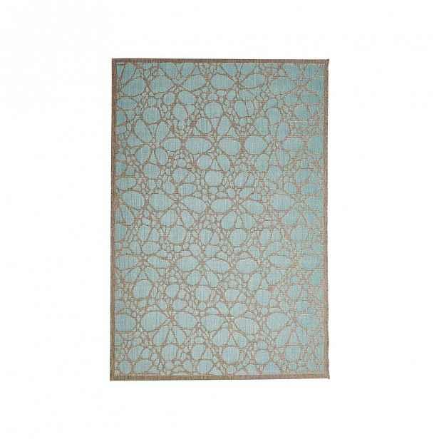 Modrý venkovní koberec Floorita Fiore, 135 x 190 cm