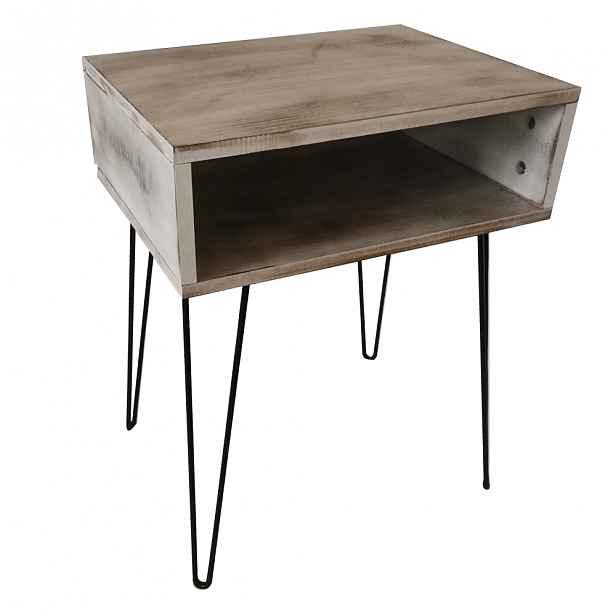 Noční stolek HONEJ Tempo Kondela Bílá s patinou