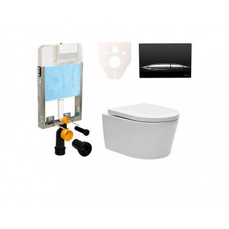 Závěsný set WC SAT Brevis, nádržka SIKO, tlačítko černé SIKOBW3