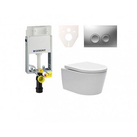 Závěsný set WC SAT Brevis, nádržka Geberit Kombifix, tlačítko CR mat SIKOGE1W3