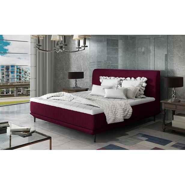 Čalouněná postel Scarlett 180x200, vínově červená, vč. matrace