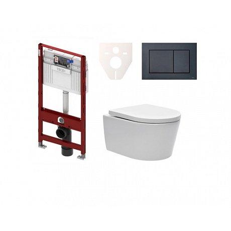 Závěsný set WC SAT Brevis, nádržka TECE, tlačítko černá SIKOTS3W4