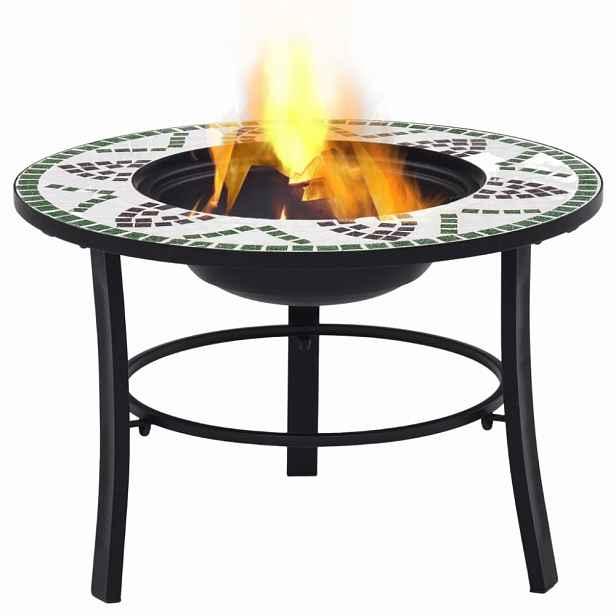 Mozaikové ohniště keramika Zelená