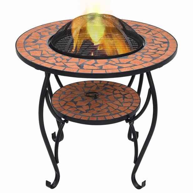 Mozaikový stolek s ohništěm Dekorhome Cihlová