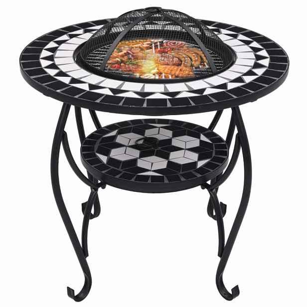 Mozaikový stolek s ohništěm Dekorhome Černá