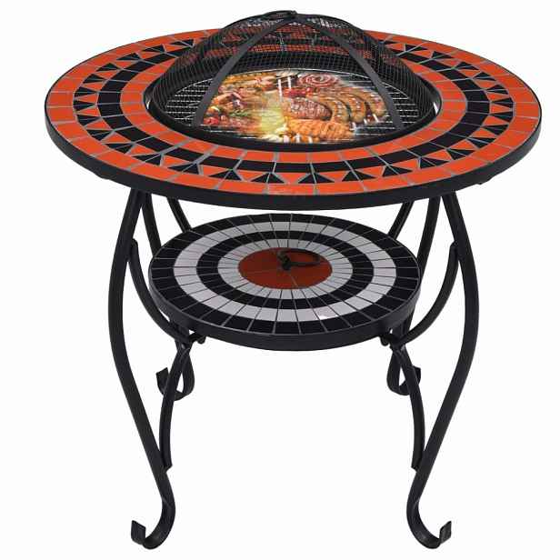 Mozaikový stolek s ohništěm Dekorhome Bílá / oranžová