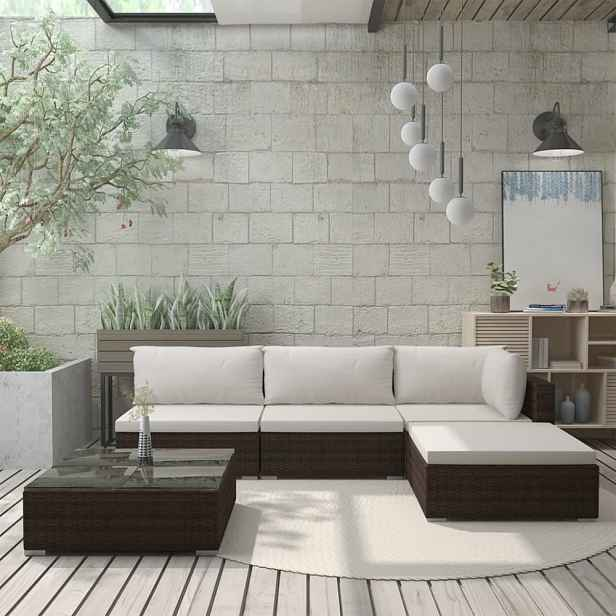 Zahradní sedací souprava s poduškami polyratan Hnědá