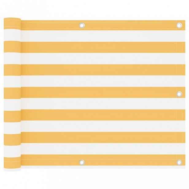 Balkónová zástěna 75 x 600 cm oxfordská látka Bílá / žlutá