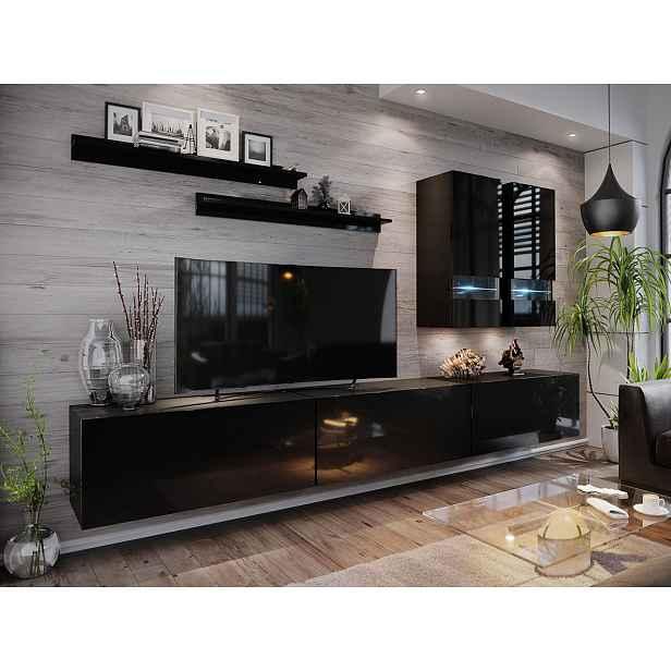 Moderní obývací stěna Bonny 01, černá/černý lesk HELCEL