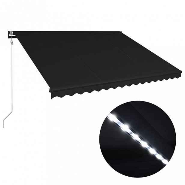 Zatahovací markýza se senzorem větru a LED světlem 400x300 cm Dekorhome Antracit