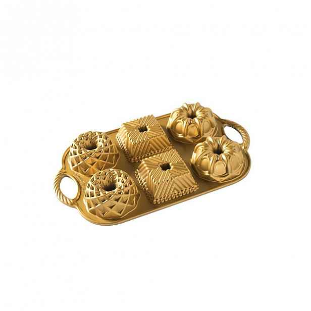 Forma na 6 mini bábovek ve zlaté barvě Nordic Ware Minimix, 800 ml