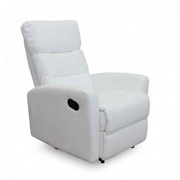 Relaxační křeslo, ekokůže, bílá, SILAS Tempo Kondela