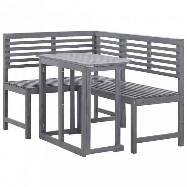 Rohová sedací souprava na balkon akáciové dřevo šedá