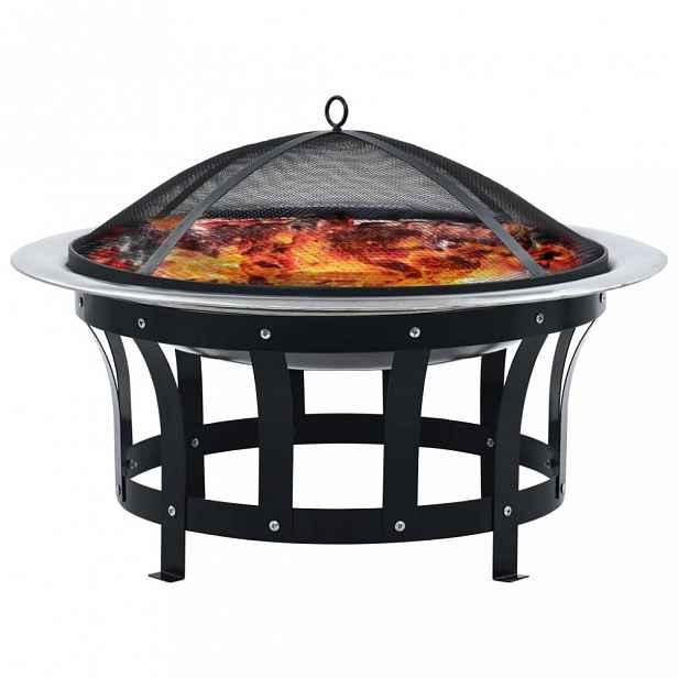 Přenosné ohniště s grilem nerezová ocel