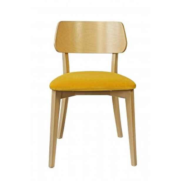 Jídelní židle Medal dub, žlutá - 34x80x47 cm