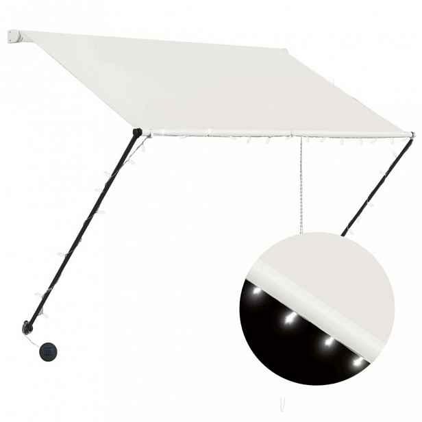 Zatahovací markýza s LED světlem 100x150 cm Dekorhome Krémová