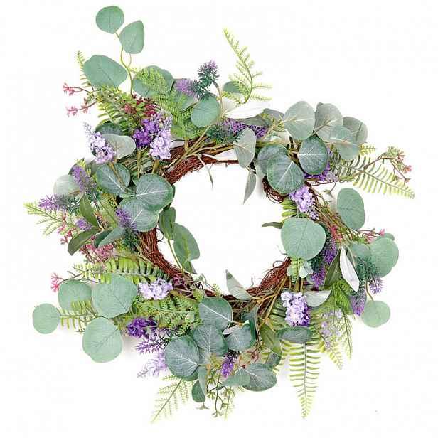 Proutěný věnec zdobený umělými květinami, fialová/zelená