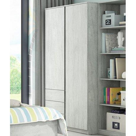 Šatní skříň Carlos, šedý beton, 100 cm