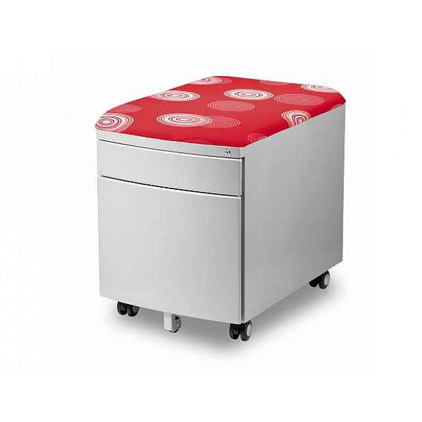 Kontejner s červeným sedákem - pojízdný, uzamykatelný