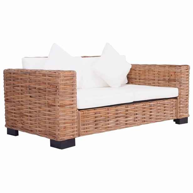Zahradní sedačka pro 2 osoby přírodní ratan / krémově bílá