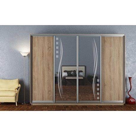 Skříň s posuvnými dveřmi STELLA 300 cm, dub sonoma