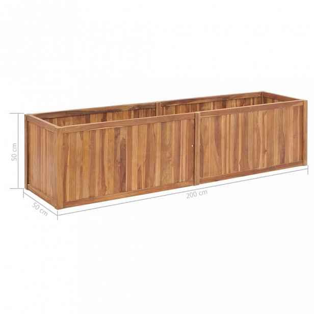 Zahradní truhlík teakové dřevo Dekorhome 200x50x50 cm