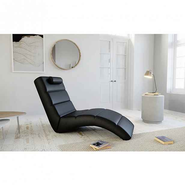 Relaxační křeslo LONG ekokůže, Černá