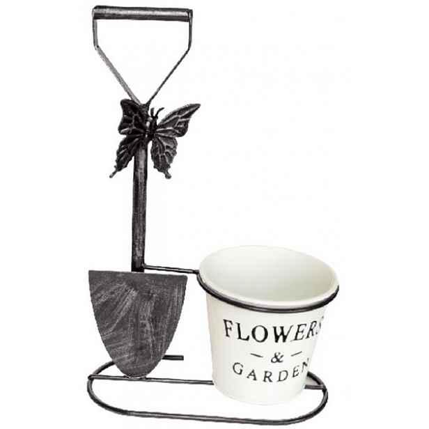 Květináč s rýčem černý, 198651