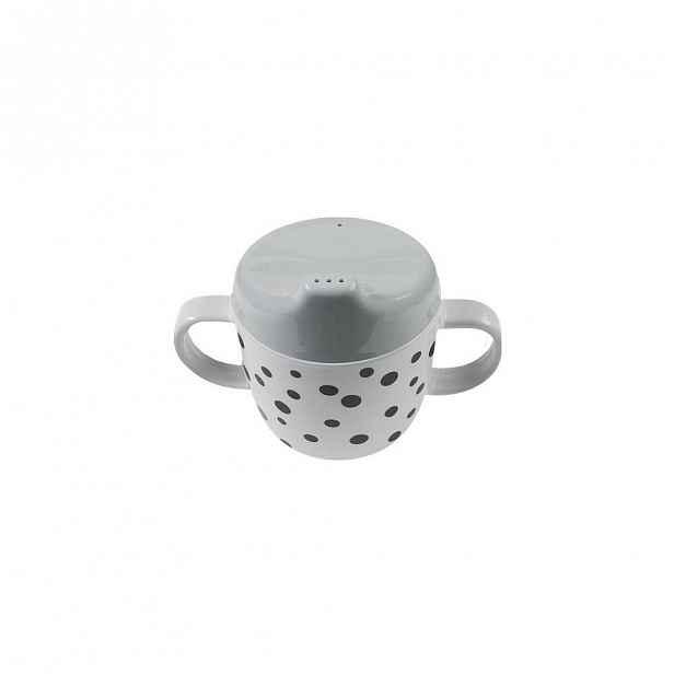 Hrneček s oušky a šedým pítkem Done by Deer Happy Dots, 170ml