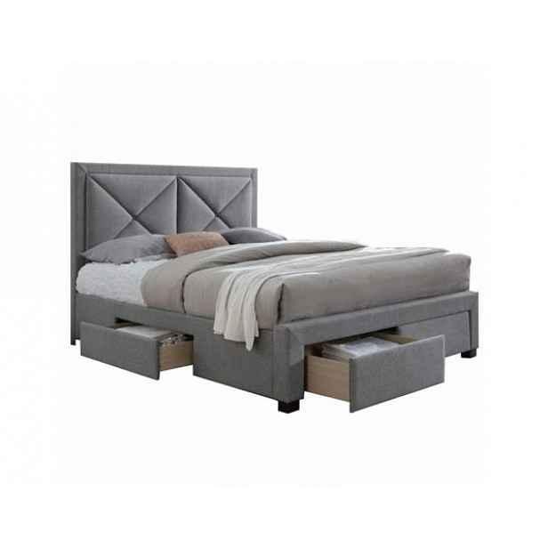 Luxusní postel s úložným prostorem XADRA, 160x200 cm, látka šedý melír