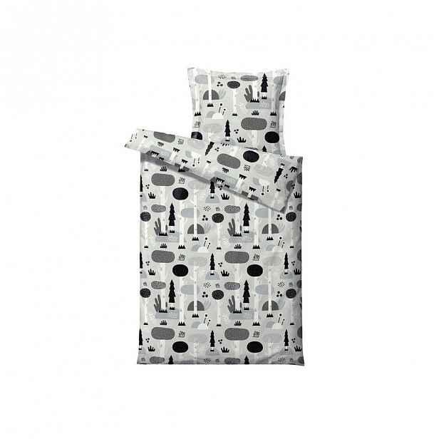 Šedo-černé dětské povlečení z ranforce bavlny Södahl Magic Forest NO,140x 200cm