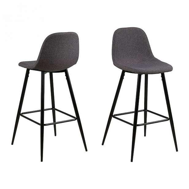 Šedá barová židle s kovovým podnožím Actona Wilma, 46.6 - 46.6 - 101 cm