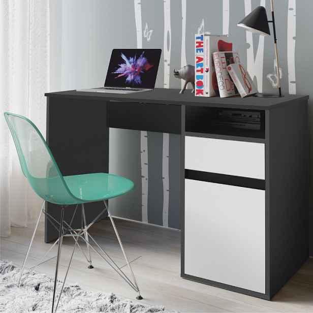 PC stůl, tmavě šedá-grafit/bílá, BILI 0000237422 Tempo Kondela
