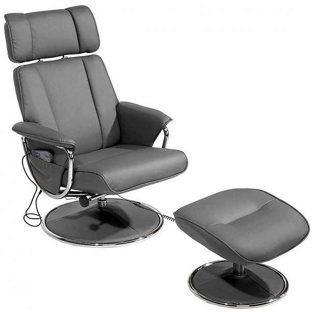 Relaxační masážní šedé křeslo s podnožkou Paloma