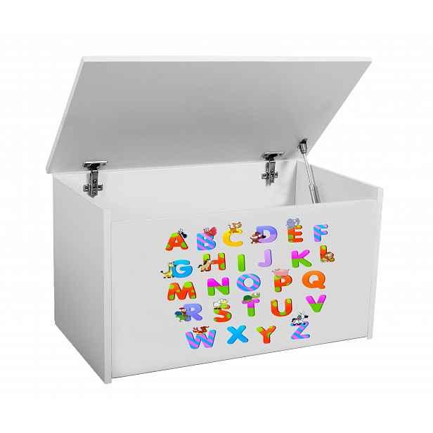Box na hračky Denia, bílý + abeceda HELCEL