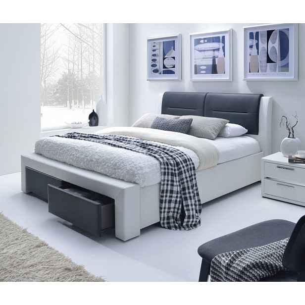 Postel CASSANDRA S bílá / černá s úložným prostorem Halmar 160 x 200 cm