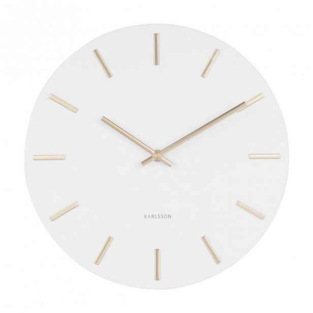 Bílé nástěnné hodiny s ručičkami ve zlaté barvě Karlsson Charm,ø30cm