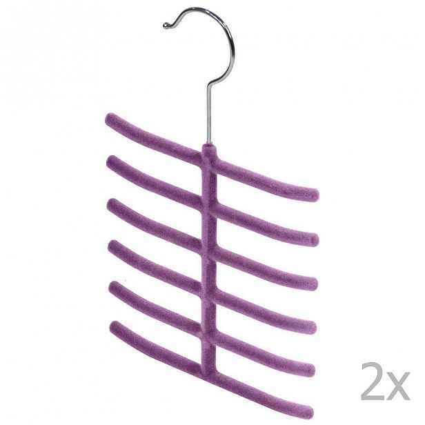 Sada 2 fialových ramínek na kravaty a doplňky Domopak Living