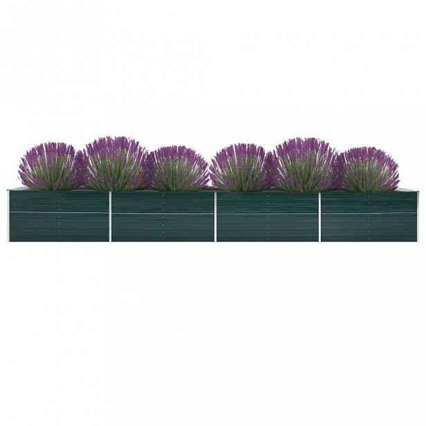 Zahradní truhlík pozinkovaná ocel 600x80x77 cm Dekorhome Zelená