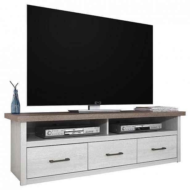 Carryhome Tv Díl, Bílá, Barvy Lanýžového Dubu - Televizní stolky - 000241002107
