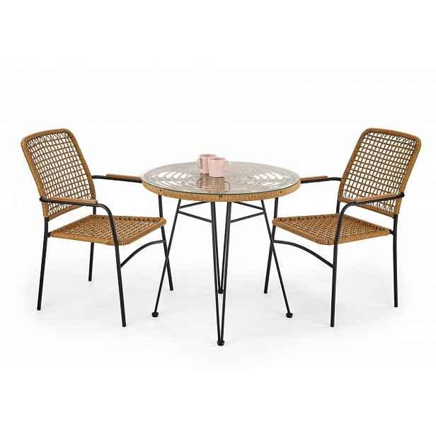 Zahradní stůl FALCON přírodní / černá Halmar