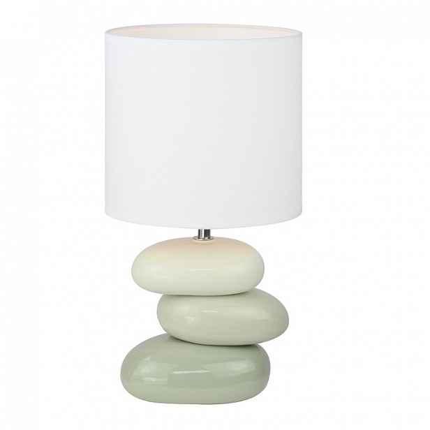 Keramická stolní lampa, bílá / šedá, QENNY TYP 4 0000190744 Tempo Kondela