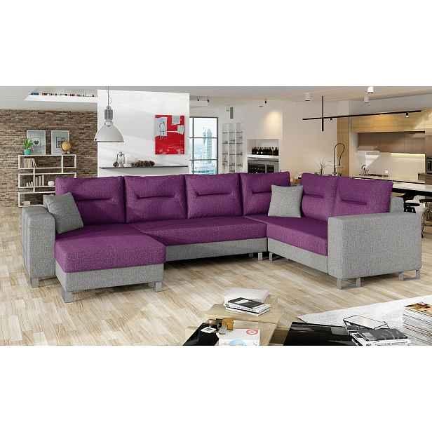Kvalitní rohová sedačka Dorris, šedá/fialová